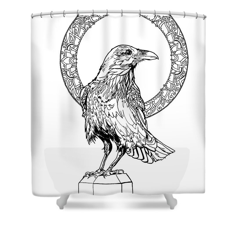 Raven Full Moon Halo Line Art Shower Curtain For Sale By Katherine Nutt
