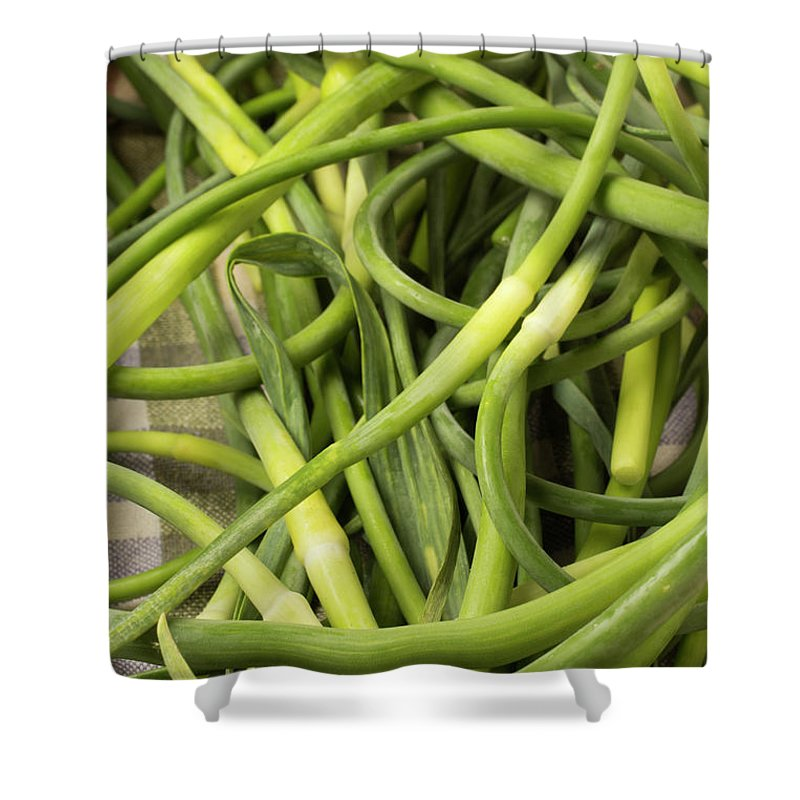 Season Shower Curtain featuring the photograph Raw Garlic Scapes by Brian Yarvin