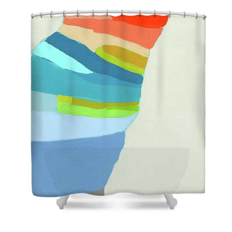 Abstract Shower Curtain featuring the painting Ready To Make A Splash by Claire Desjardins