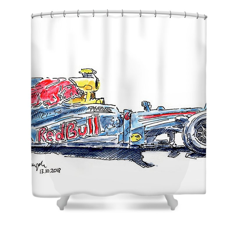 Red Bull Rb6 F1 Racecar Ink Drawing And Watercolor Shower Curtain For Sale By Frank Ramspott