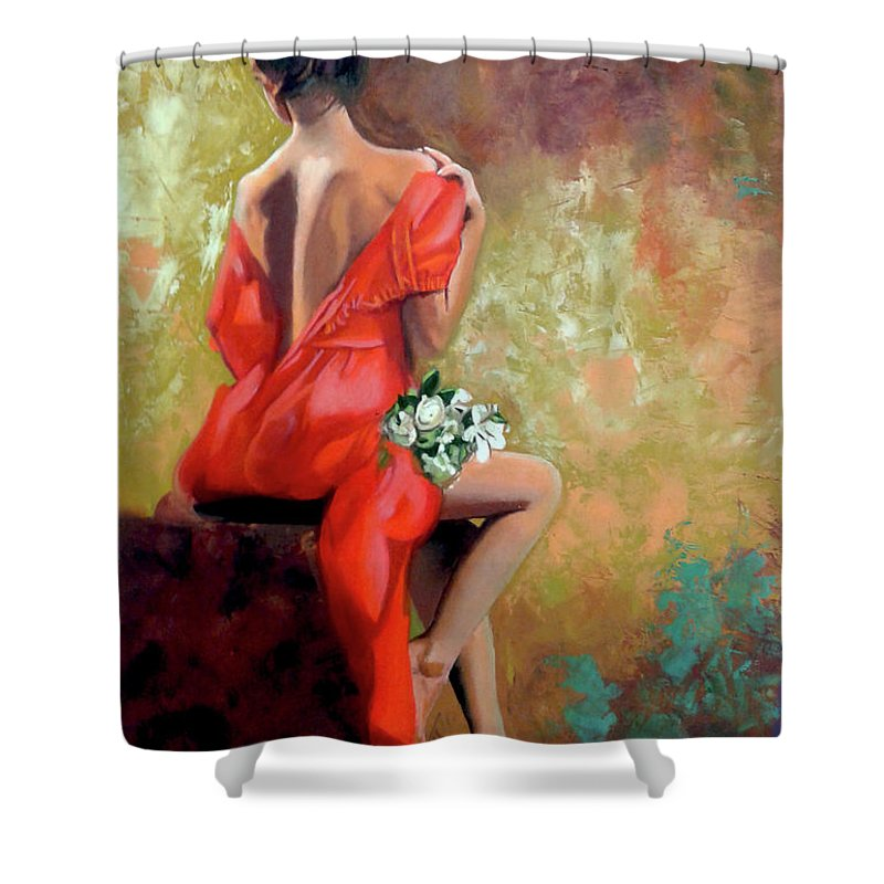 Women Shower Curtain featuring the painting Red Lady 2 by Jose Manuel Abraham