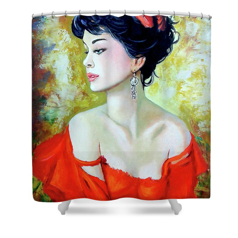 Lady Shower Curtain featuring the painting Red Lady by Jose Manuel Abraham