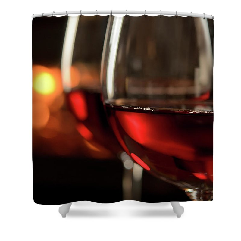 Orange Color Shower Curtain featuring the photograph Red Wine By The Fire by Nightanddayimages