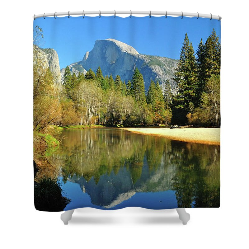 Scenics Shower Curtain featuring the photograph Reflections Of Half Dome by Sandy L. Kirkner