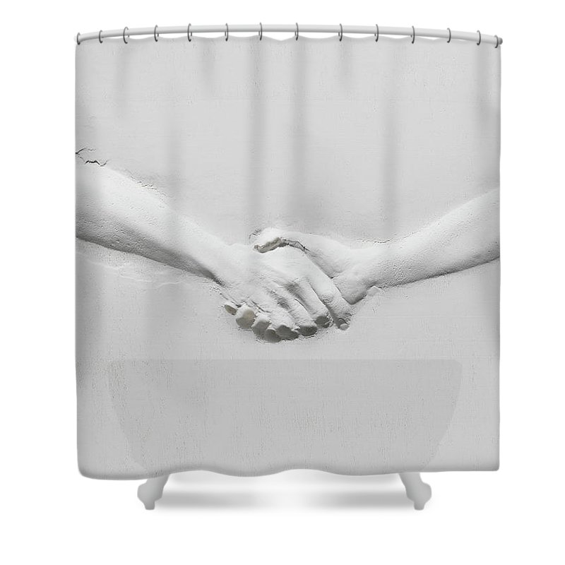 Human Arm Shower Curtain featuring the photograph Relief Of Handshake by Henrik Sorensen
