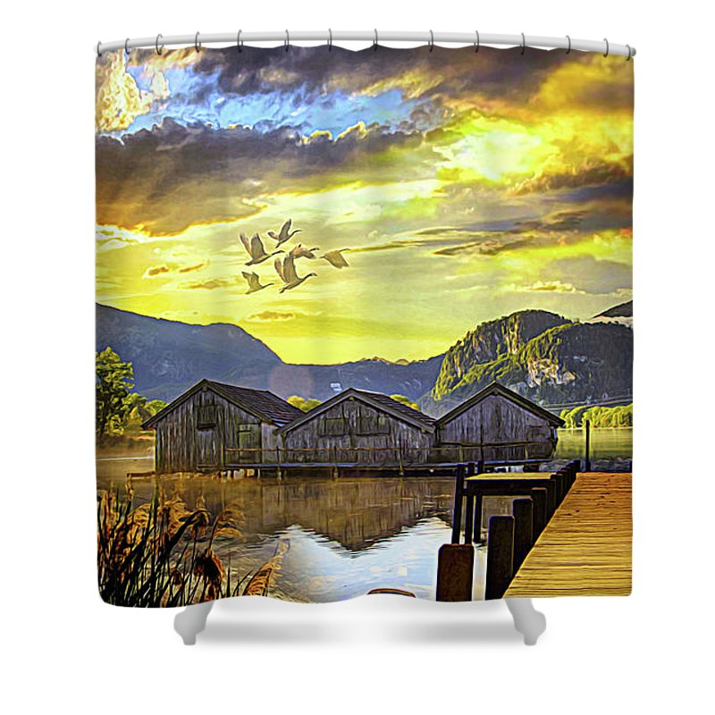 Lake Shower Curtain featuring the digital art Rest At The Lake by Jasmina Seidl