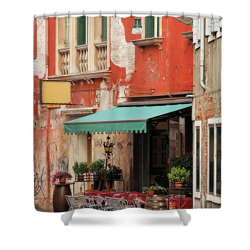 Empty Shower Curtain featuring the photograph Restaurant In Venice by Mammuth