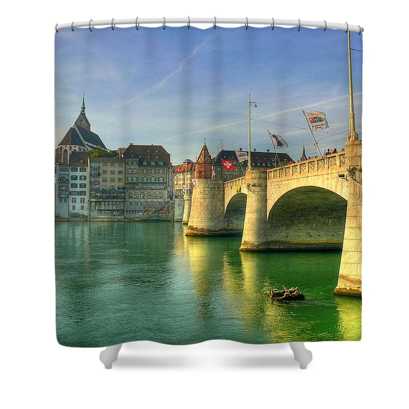 Outdoors Shower Curtain featuring the photograph Rhine Bridge In Basel by Richard Fairless