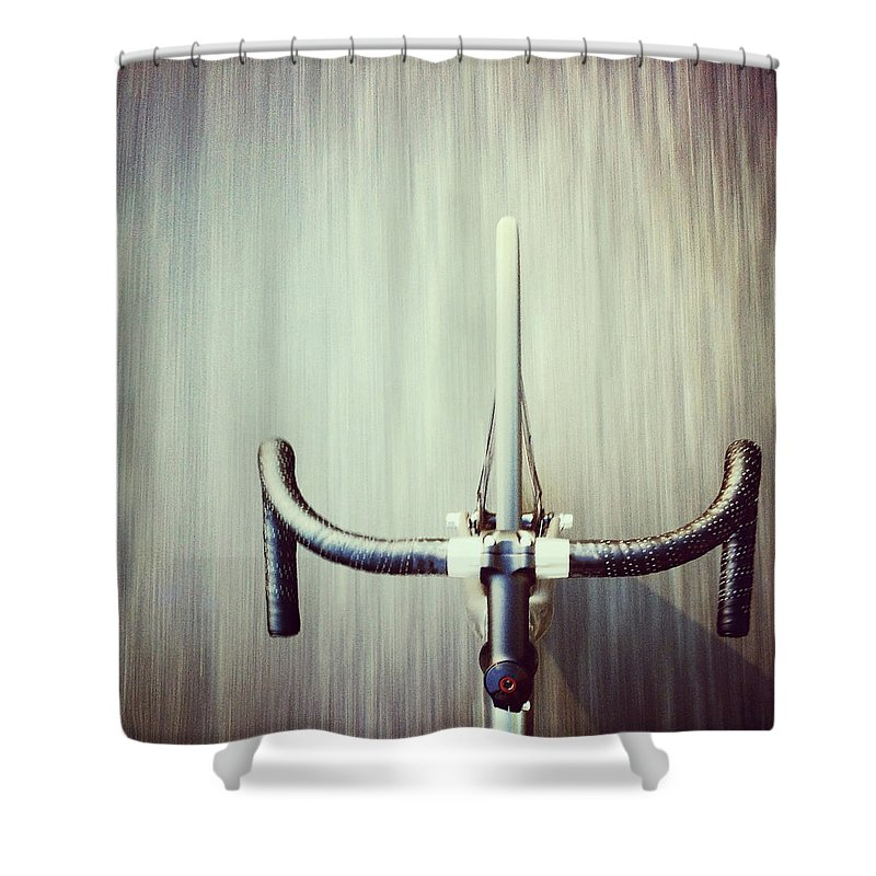 San Francisco Shower Curtain featuring the photograph Riding Bicycle by Joey Celis