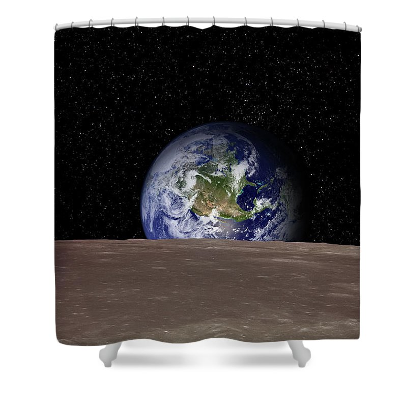 Landscape Shower Curtain featuring the photograph Rising Earth Over Moon Surface by Photovideostock