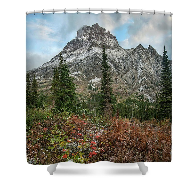 00575365 Shower Curtain featuring the photograph Rising Wolf Mountain, Glacier National by Tim Fitzharris