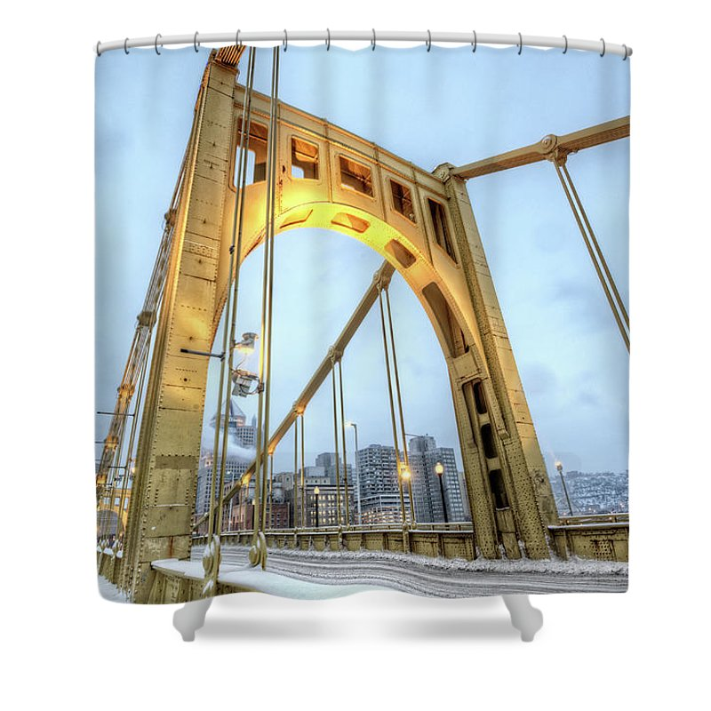 Arch Shower Curtain featuring the photograph Roberto Clemente Bridge by Hdrexposed - Dave Dicello Photography