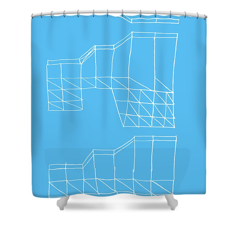 Yifat Gat Shower Curtain featuring the drawing Robotricks by Yifat Gat
