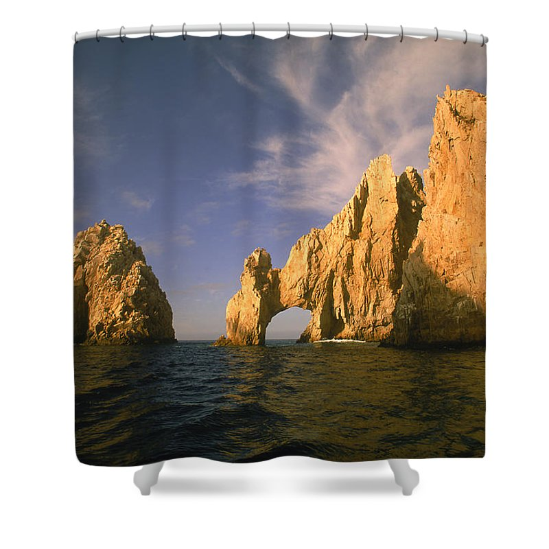 Scenics Shower Curtain featuring the photograph Rock Formations, Cabo San Lucas, Mexico by Walter Bibikow