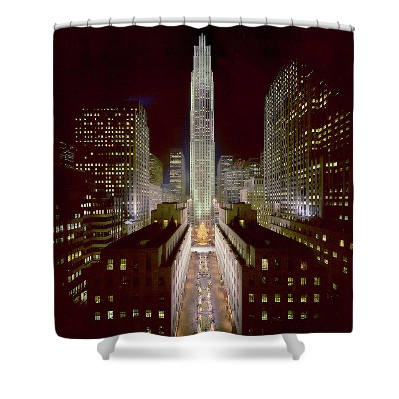 1980-1989 Shower Curtain featuring the photograph Rockefeller Center, Manhatten, At by Thorney Lieberman