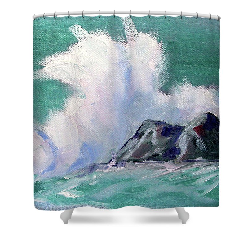 Rocky Coastline Shower Curtain featuring the painting Rocky Coastline by Nancy Merkle
