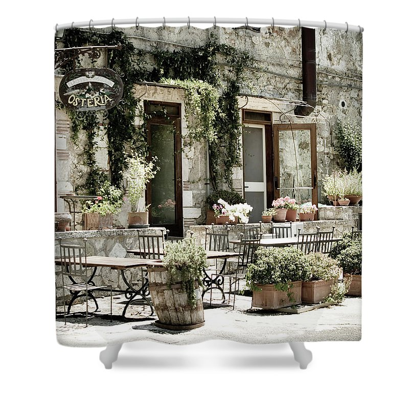 Outdoors Shower Curtain featuring the photograph Romantic Italian Osteria by T-lorien