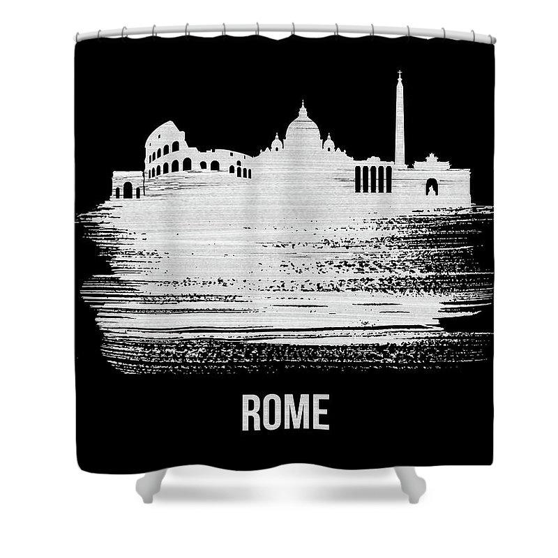 Rome Shower Curtain featuring the mixed media Rome Skyline Brush Stroke White by Naxart Studio