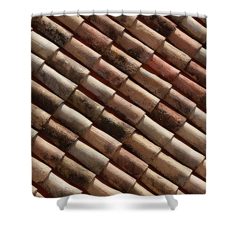 In A Row Shower Curtain featuring the photograph Rooftop In Dubrovnik Old Town by Martin Child