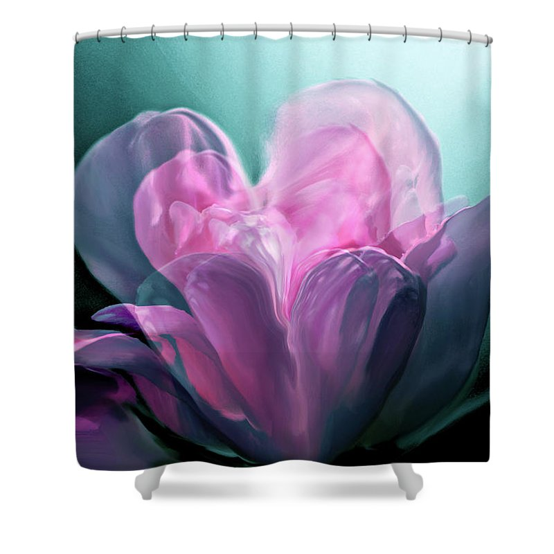 Rose Heart Shower Curtain featuring the digital art Rose Heart by Linda Sannuti
