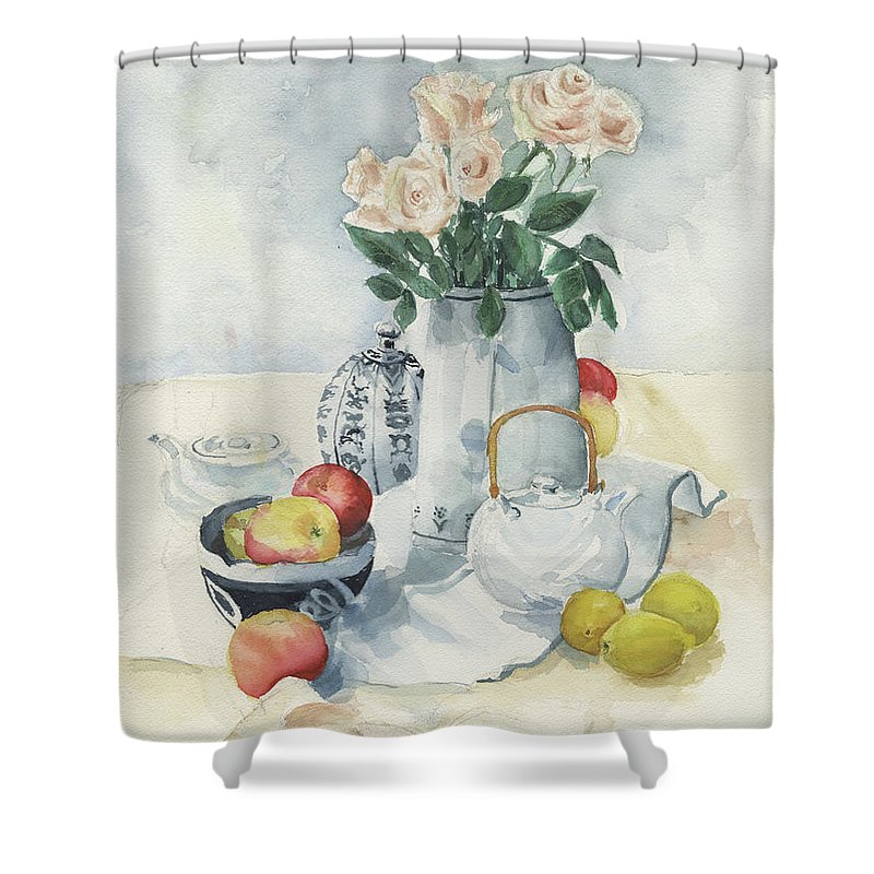 Roses Shower Curtain featuring the painting Roses and Lemons by Galen Hazelhofer