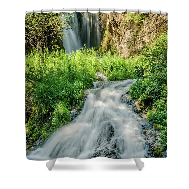 Tranquility Shower Curtain featuring the photograph Roughlock Waterfalls In Lead, South by Carl M Christensen