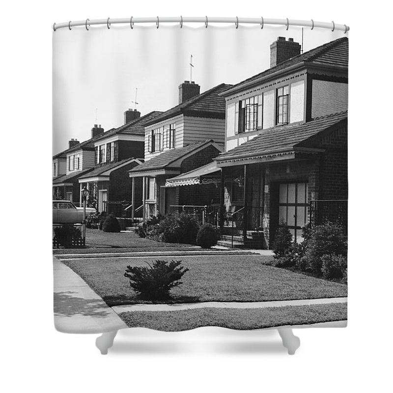 1950-1959 Shower Curtain featuring the photograph Row Of Houses by George Marks