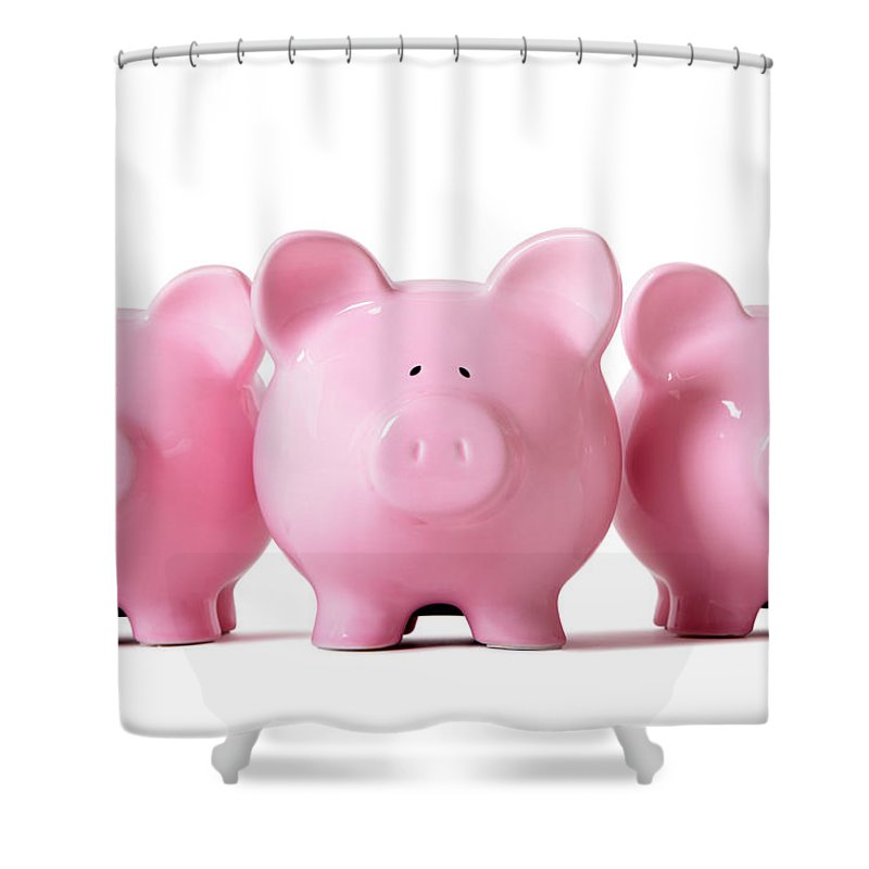 Corporate Business Shower Curtain featuring the photograph Row Of Pink Piggy Banks by Hatman12