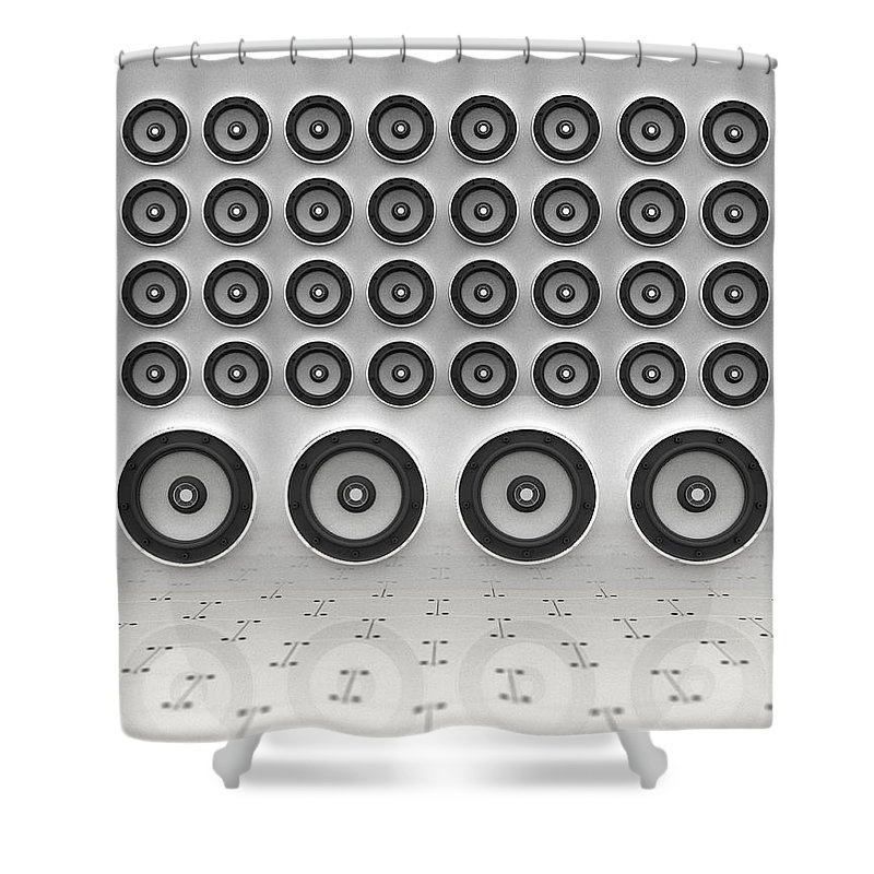 White Background Shower Curtain featuring the digital art Rows Of Speakers Digital by Chad Baker