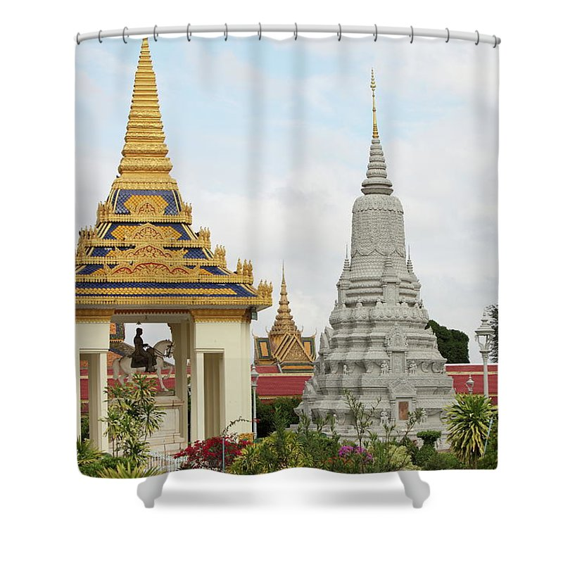 Southeast Asia Shower Curtain featuring the photograph Royal Palace In Phnom Penh, Cambodia by Laurent
