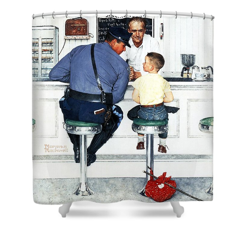 Boy Shower Curtain featuring the drawing Runaway by Norman Rockwell