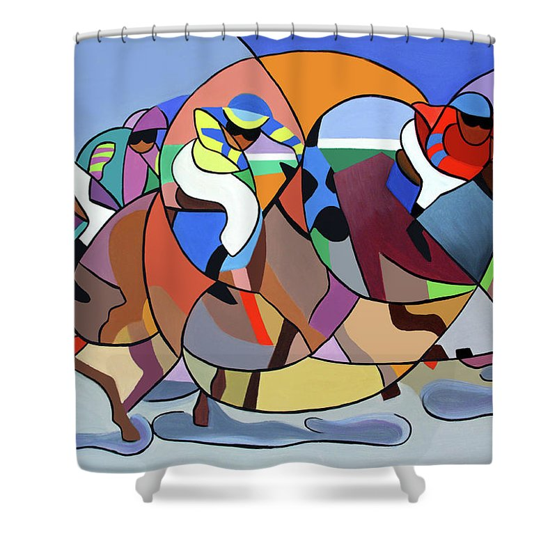 Cubism Shower Curtain featuring the painting Running The Race by Anthony Falbo