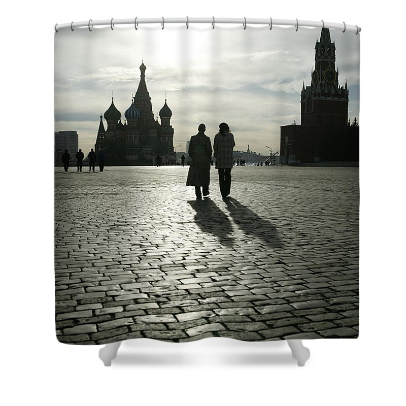 Shadow Shower Curtain featuring the photograph Russia, Moscow, Red Square, Silhouette by Will & Deni Mcintyre