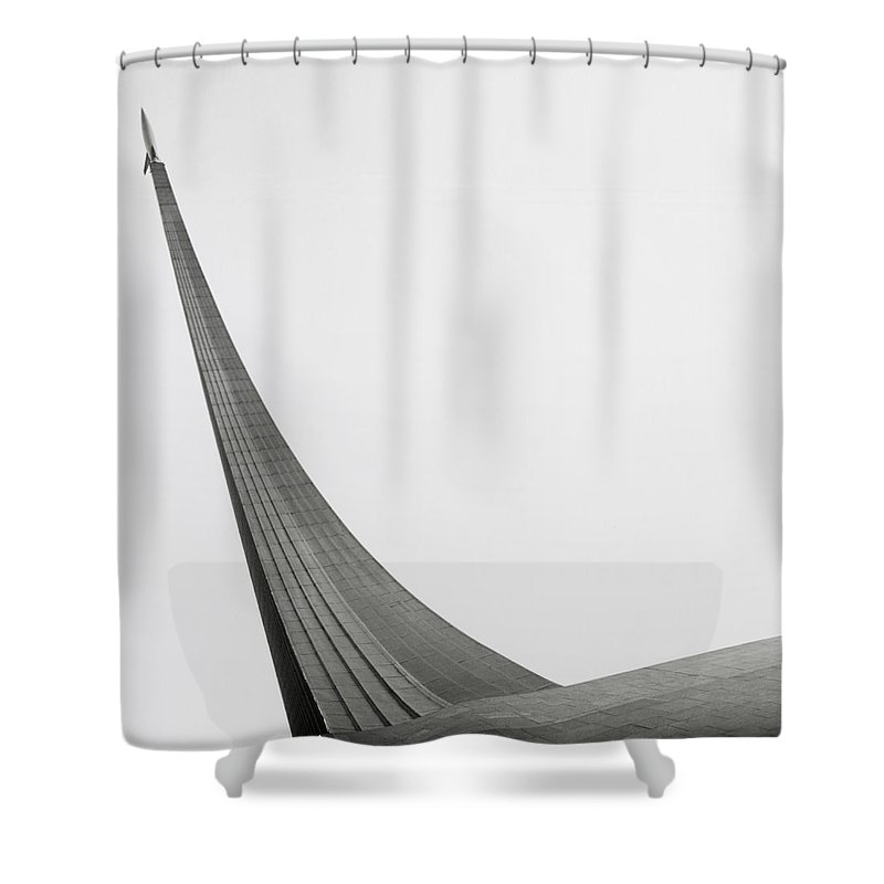 Outdoors Shower Curtain featuring the photograph Russia, Moscow Space Monument, Low by Kim Steele