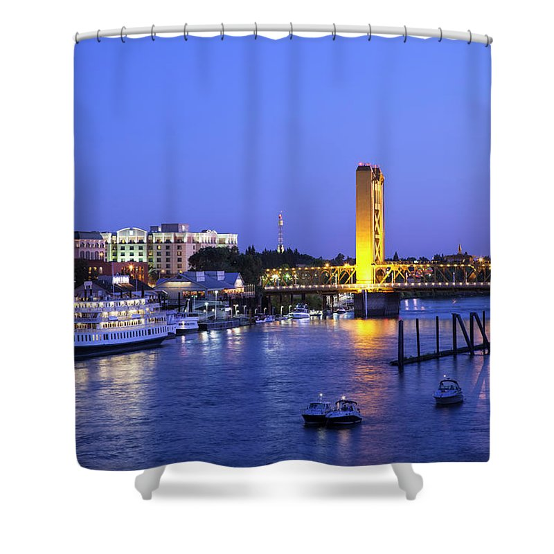 Scenics Shower Curtain featuring the photograph Sacramento River And Tower Bridge At by Picturelake