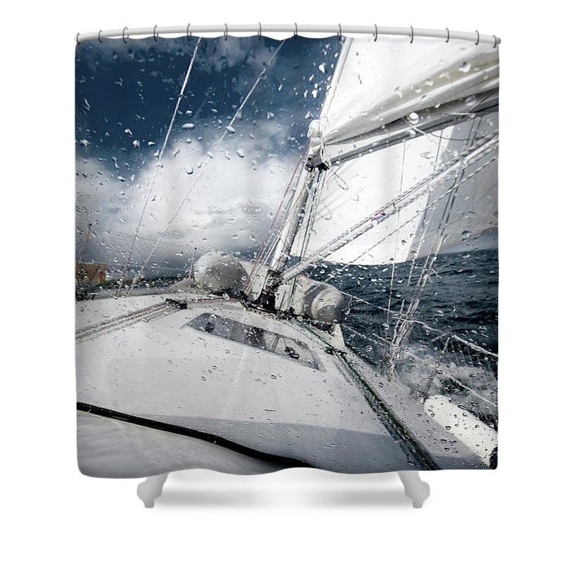 Wind Shower Curtain featuring the photograph Sailing In The North Sea During A Storm by Sindre Ellingsen