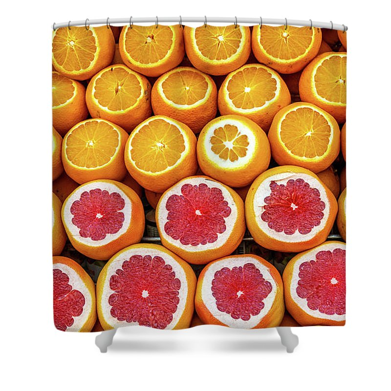 Group Shower Curtain featuring the photograph Sales Stand For Juice Of Oranges With Sliced Fruits by Frank Heinz