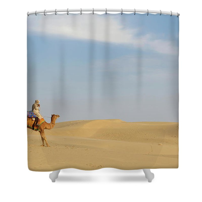 Tranquility Shower Curtain featuring the photograph Sam Sand Dunes Near Jaisalmer, Rajasthan by Cultura Rm Exclusive/karen Fox