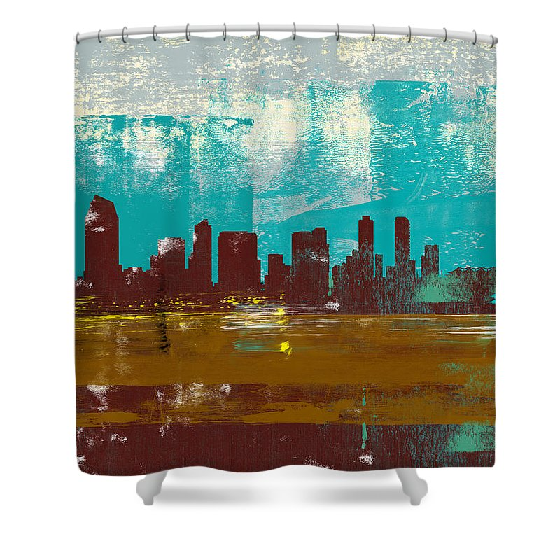 San Diego Shower Curtain featuring the mixed media San Diego Abstract Skyline II by Naxart Studio