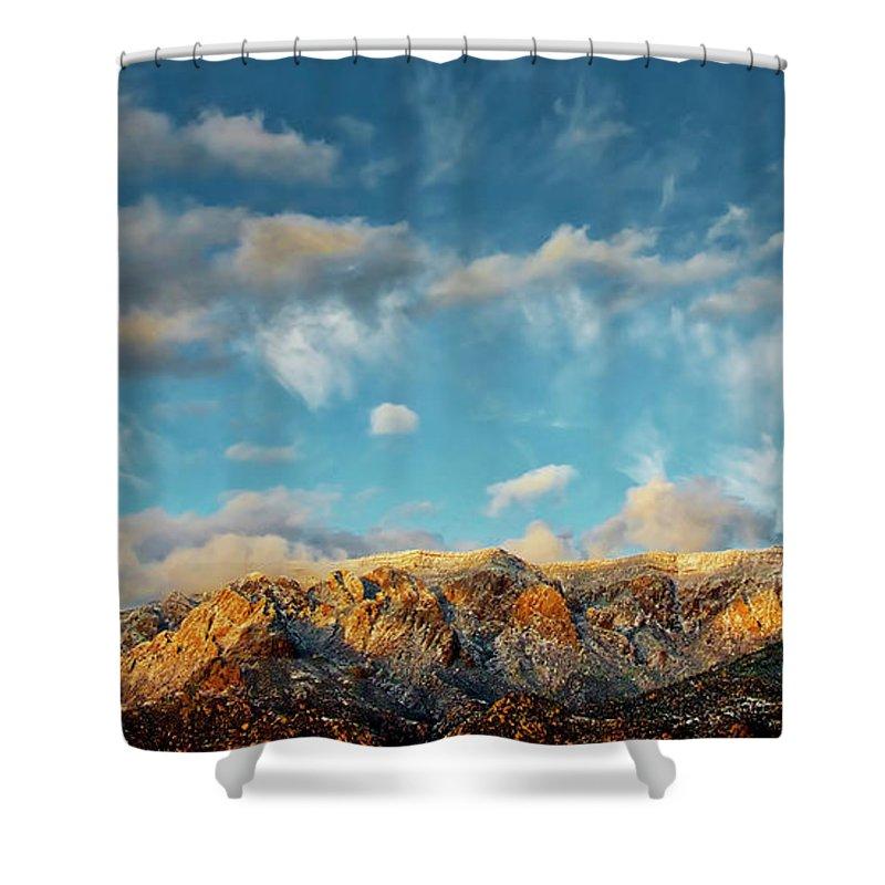 Southwest Shower Curtain featuring the photograph Sandia Gold, Sandia Mountain, Albuquerque, NM by Zayne Diamond Photographic