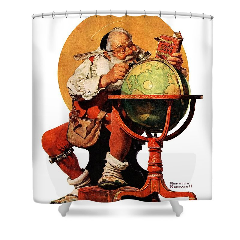 Globes Shower Curtain featuring the drawing Santa At The Globe by Norman Rockwell