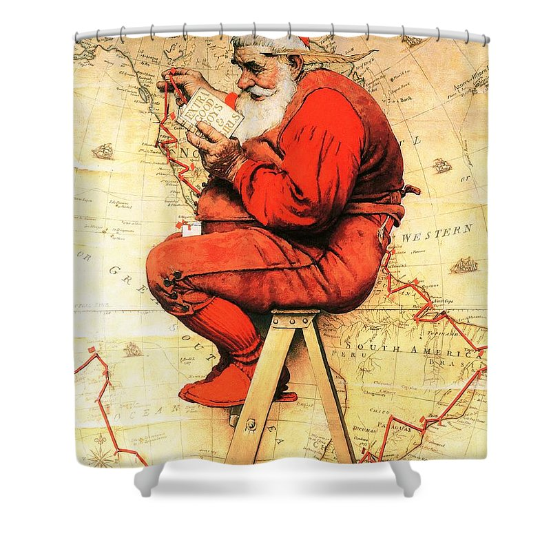 Christmas Shower Curtain featuring the drawing Santa At The Map by Norman Rockwell