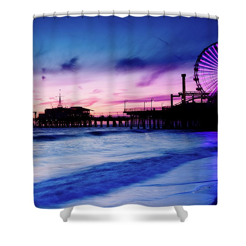 Commercial Dock Shower Curtain featuring the photograph Santa Monica Pier With Ferris Wheel by Pawel.gaul