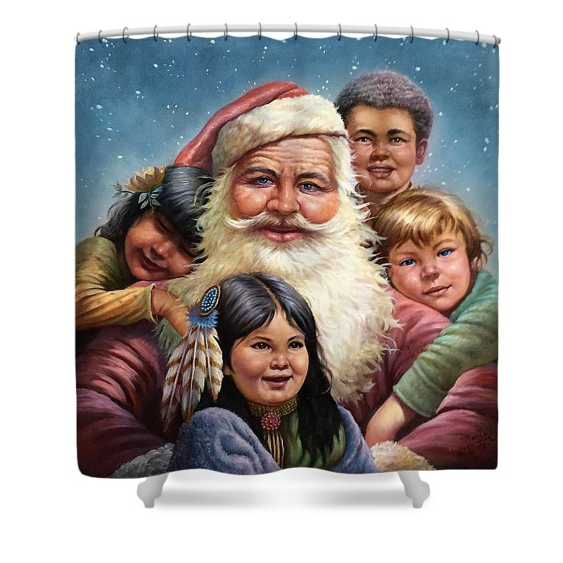 Santa Claus Shower Curtain featuring the painting Santa'schildren by Gregory Perillo