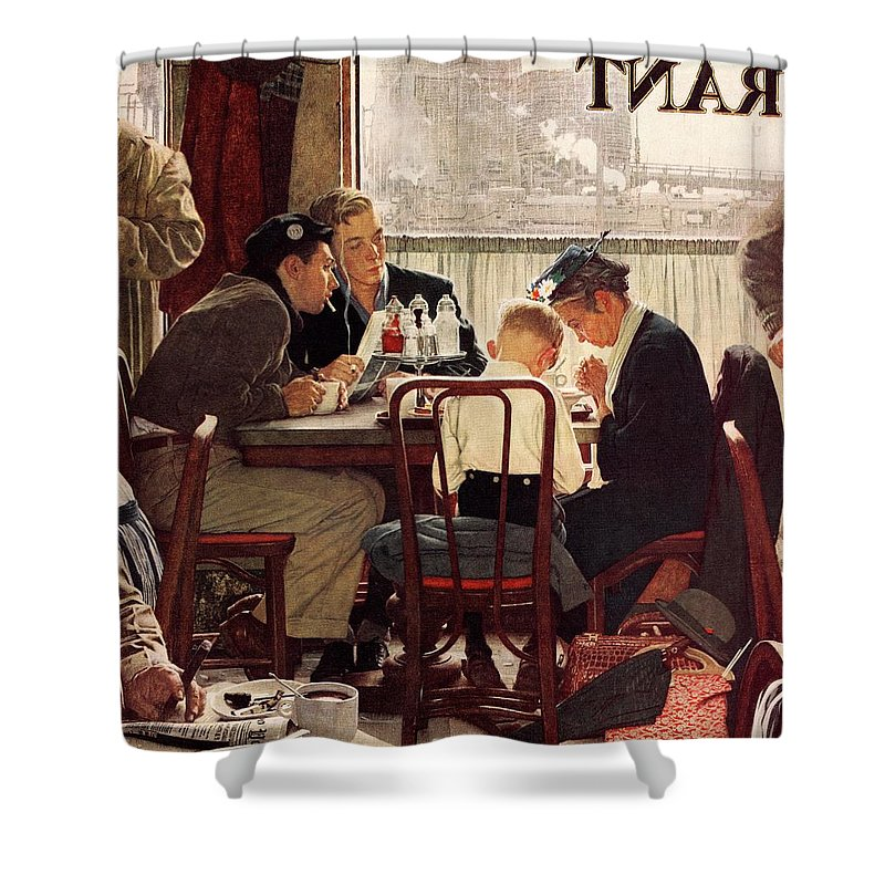 Eating Shower Curtain featuring the drawing Saying Grace by Norman Rockwell
