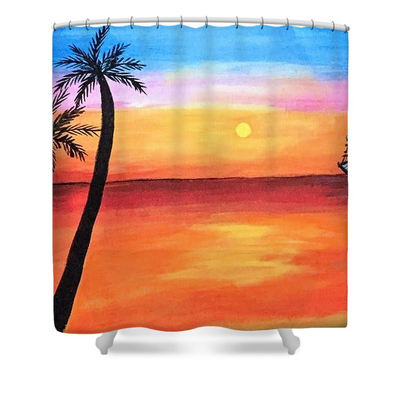 Canvas Shower Curtain featuring the painting Scenary by Aswini Moraikat Surendran