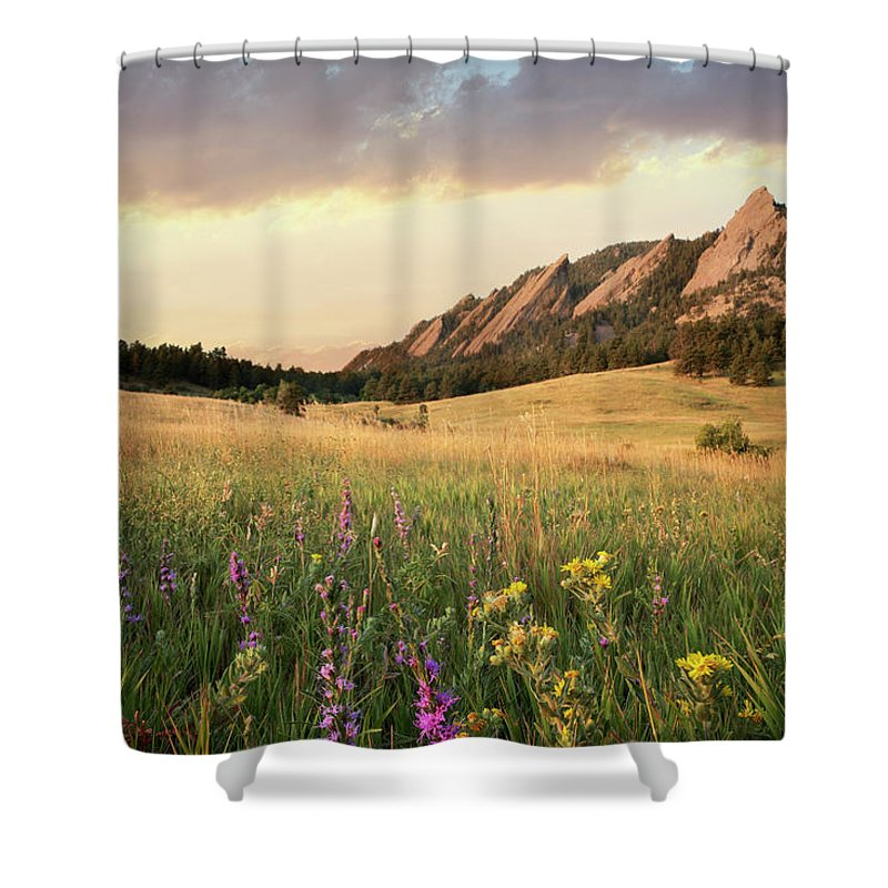 Tranquility Shower Curtain featuring the photograph Scenic View Of Meadow And Mountains by Seth K. Hughes