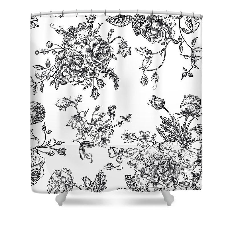 Art Shower Curtain featuring the digital art Seamless Pattern With Bouquet Of by Nata slavetskaya