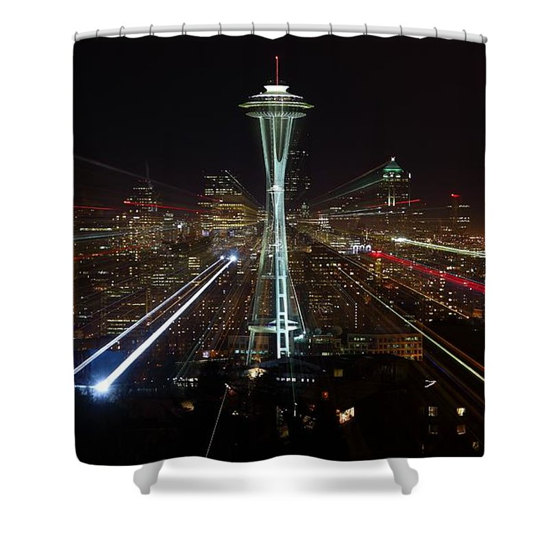 Laser Shower Curtain featuring the photograph Seattle Skyline Laser Show by Jonkman Photography