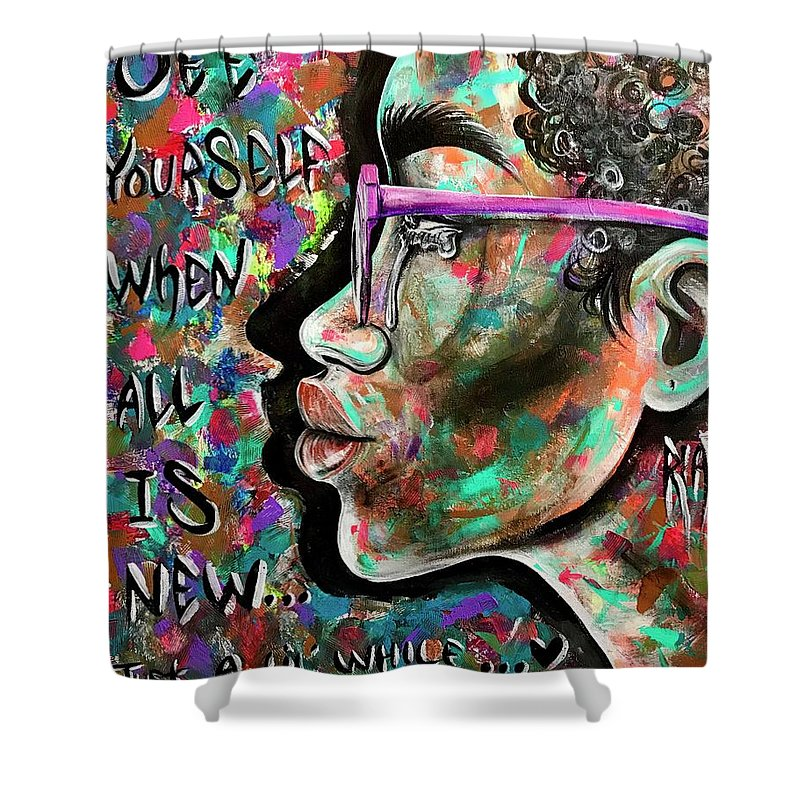 Depressed Shower Curtain featuring the painting See yourself when all is new by Artist RiA